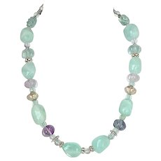 Green and Lavender Fluorite Nugget Necklace