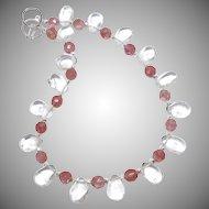 Clear Crystal Quartz Drops, Faceted Pink Quartz Necklace