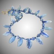 Blue Irridescent Kyanite Fancy Drop Petal Necklace