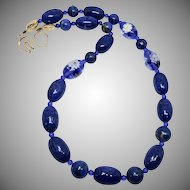 Top Quality Rich Natural Blue Lapis with Vintage Venetian Glass Flower Bead Necklace