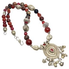 Rajasthan Indian Silver Pendant with Red Agate, Jasper Necklace