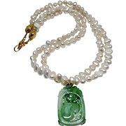 Natural Chinese Carved Green Jade Bat, Peach with Fresh Water Pearl Necklace