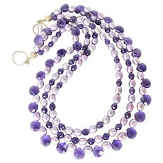 Faceted Amethyst Teardrops, Dyed Rice Pearls Necklace