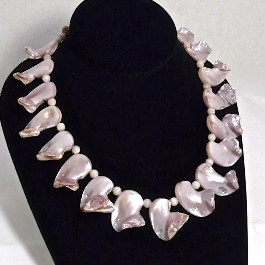 Pink Mother Of Pearl Shell Necklace Carol Barrett
