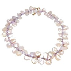 Pink Keishi Petal Pearl Necklace
