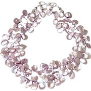 Soft Burgundy Pink Keishi Petal Pearl Necklace