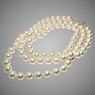 """Large Vintage Opera Length Faux Pearls Necklace - 30"""""""
