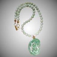 Carved Green Jadeite Jade Dragon and Phoenix, and Jadeite Necklace
