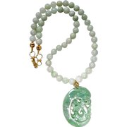 Carved Green Jadeite Jade Dragon and Phoenix, and Jadeite Necklace