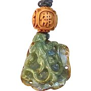 Hand Carved Green Jade Dragon Pendant Necklace