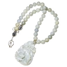 Carved Blue Green Jade Bat and Lotus with Jade Beads Necklace