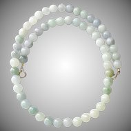 "Natural Blue Green Jade Necklace - 22"""