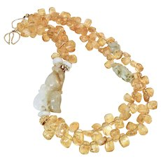 Natural Golden Jade Double Cats with Citrine Drops Necklace