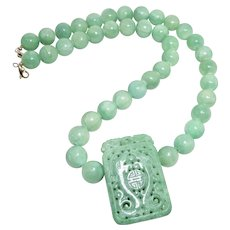 Natural Carved Green Jade Double Phoenix and Dragon, Enhanced Green Jade Necklace
