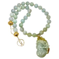 Carved Green Jade Dragon, Gourd with Jade Necklace