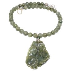 Carved Green Jade Double Fish, Green Rutilated Quartz Necklace