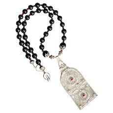 Antique Indian Silver Pendant, Black Onyx Necklace