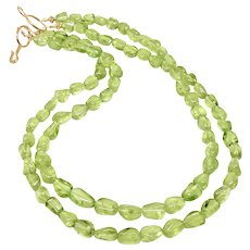 Gem Quality Green Peridot Double Strand Necklace