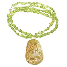 One of a Kind Hand Carved Golden Jade Dragon with Gem Quality Peridot Necklace