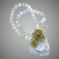 Carved Natural Blue and Golden Jade Fish Pendant with Burmese Jade Necklace