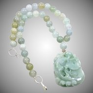 Natural Carved Green Jade Fish and Lotus with Burmese Jade Necklace