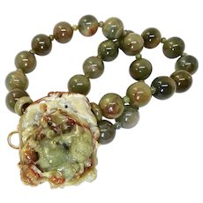 Carved Green and Rust Jade Double Dragon and Bat with Green Rutilated Quartz Necklace