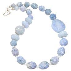 Carved Natural Blue Jade Dragon Necklace