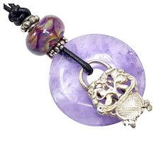 Lavender Natural Amethyst Pi(Disk), Antique Chinese Silver, Glass Lamp Work Bead Pendant Necklace