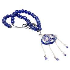 Antique Japanese Cloisonne Incense Holder, Tsaru Wedding Symbol. Blue Lamp Work Glass Necklace
