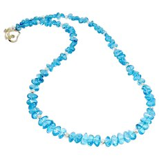 Clear Tumbled Blue Apatite Necklace