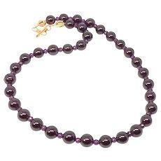 Rich Red Gem Quality Garnet and Faceted Garnet Necklace
