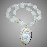 Carved Natural Aqua Blue Jade Dragon with Aquamarine Necklace