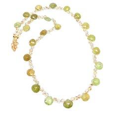 Faceted Green Garnet Tear Drops, Golden Rutilated Quartz Necklace