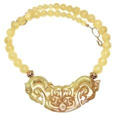 Golden Serpentine Dragons with Golden Citrine Quartz Necklace