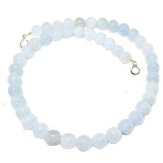 Natural Translucent Blue Jade Necklace, 14k Gold