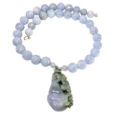 Lavender & Green Jade Dragon, Lavender Blue Burmese Jade Necklace