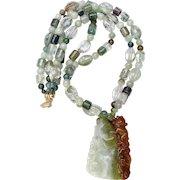 Carved Jade Dragon, Faceted Lodalite, Jade 14K Gold Necklace