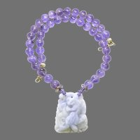 Natural Lavender Jade Temple Lion or Foo Dog with Amethyst Necklace