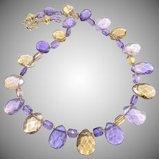 Brilliant Quality Faceted Purple Ametrine Necklace