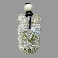 Vintage Carved Green Nephrite Jade Stylized Dragon Pendant Necklace