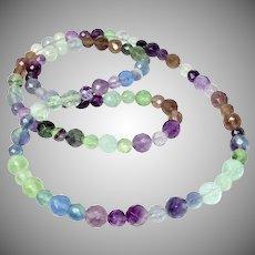"Faceted Multicolor Rainbow Fluorite 31"" Necklace"