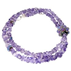 Hand Blown Glass Bead, Amethyst Nugget Necklace