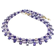 Lavender Rice Pearls, Cubic Zirconia, Faceted Amethyst Necklace