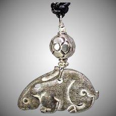 Carved Black Jade Rabbit, Vintage Chinese Silver Pendant Necklace