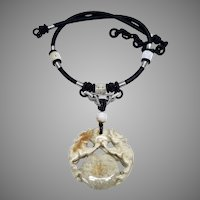 Carved Natural Jade Double Dragon Pendant Necklace