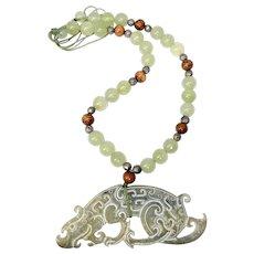 Vintage Carved Jade Dragon with Jade Necklace