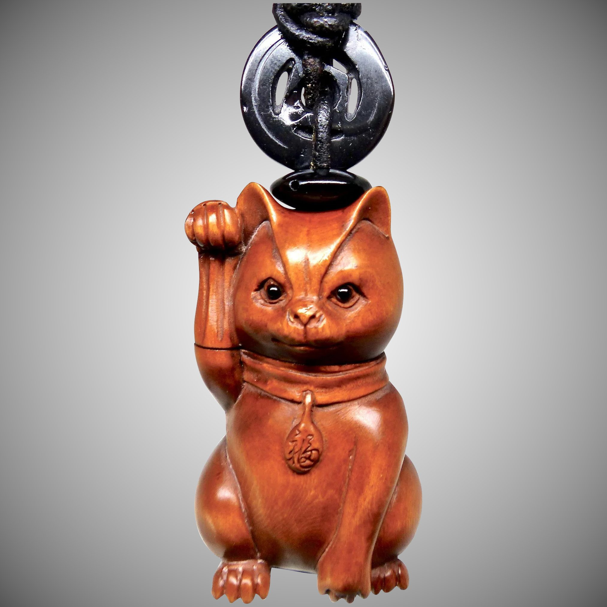 Boxwood happy cat pendant necklace : carol barrett jewelry ruby lane