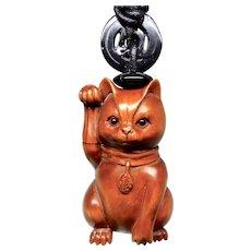 Boxwood Happy Cat Pendant Necklace