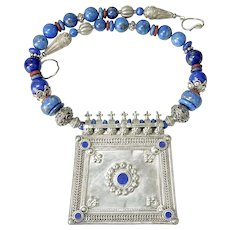 Old Indian Silver and Lapis Amulet Pendant, Lapis Ethnic, Tribal Necklace