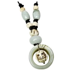 Green Jade Archer's Ring Carved Bone Dog Pendant Necklace